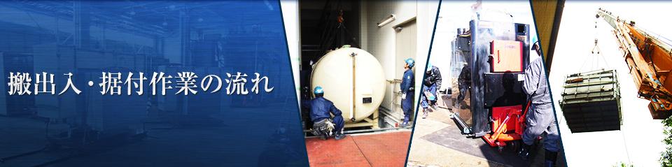 搬出入・据付作業の流れ | 工作機械・精密機械・半導体関連装置等の重量物搬出・搬入・移設は有限会社ヨシダ工業へ